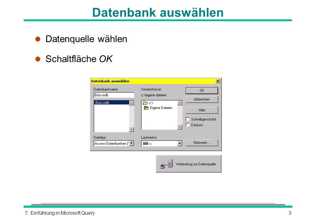 7. Einführung in Microsoft Query3 Datenbank auswählen l Datenquelle wählen l Schaltfläche OK