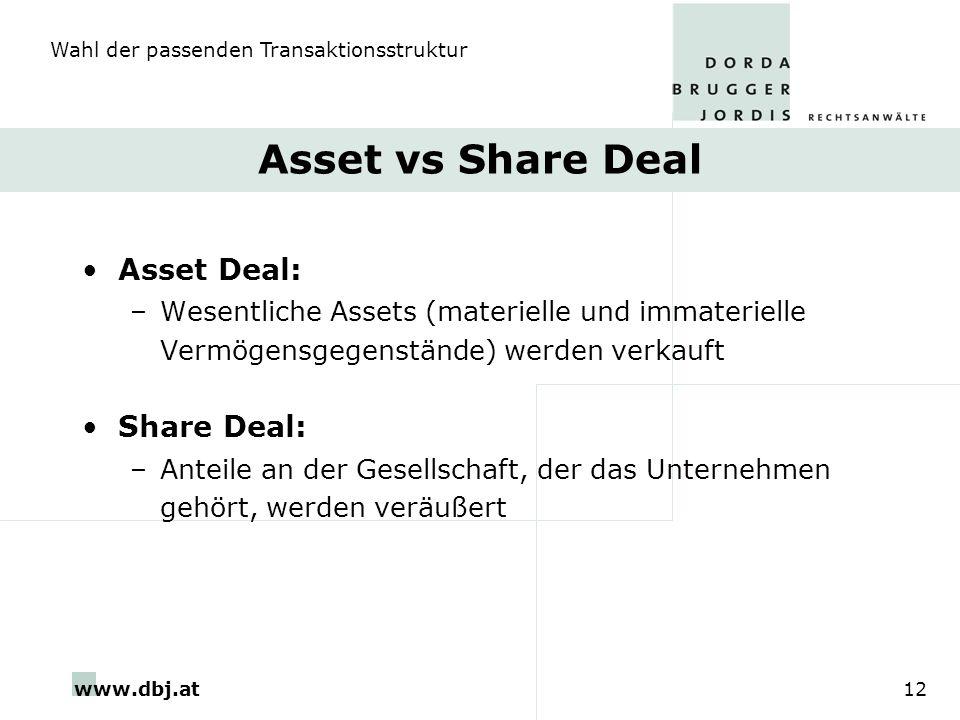 www.dbj.at12 Asset vs Share Deal Asset Deal: –Wesentliche Assets (materielle und immaterielle Vermögensgegenstände) werden verkauft Share Deal: –Antei