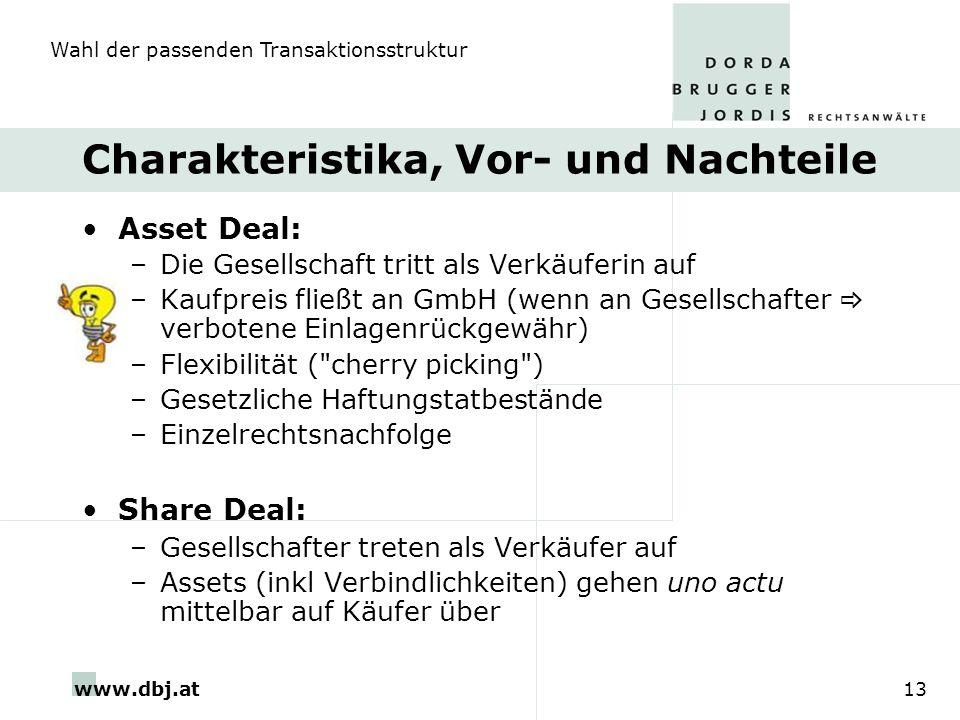 www.dbj.at13 Charakteristika, Vor- und Nachteile Asset Deal: –Die Gesellschaft tritt als Verkäuferin auf –Kaufpreis fließt an GmbH (wenn an Gesellscha