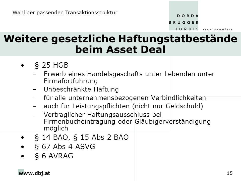 www.dbj.at15 Weitere gesetzliche Haftungstatbestände beim Asset Deal § 25 HGB –Erwerb eines Handelsgeschäfts unter Lebenden unter Firmafortführung –Un