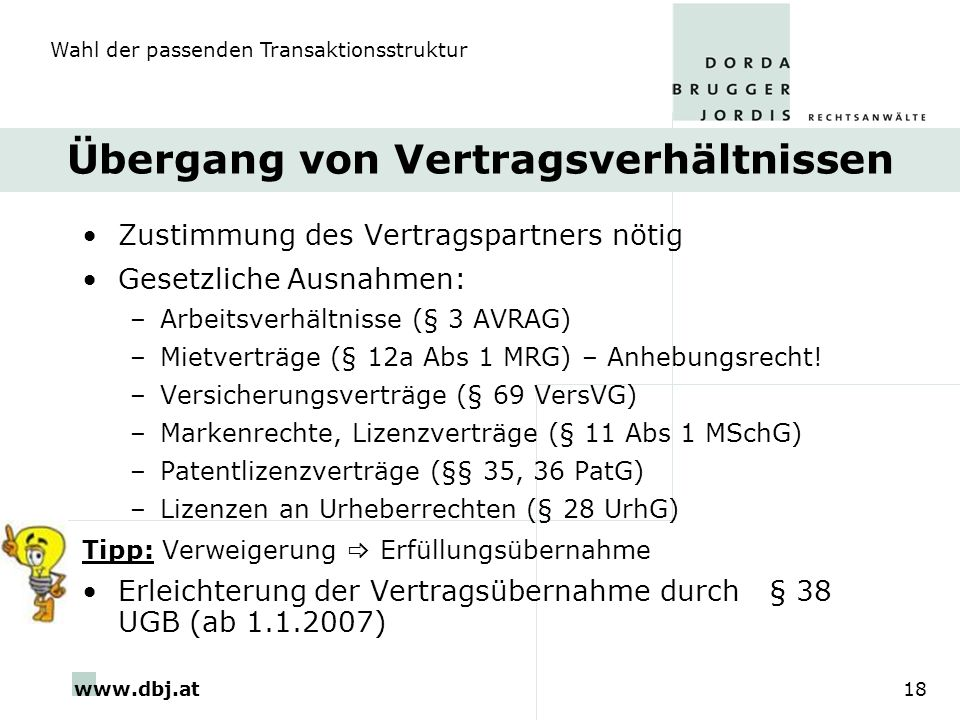 www.dbj.at18 Übergang von Vertragsverhältnissen Zustimmung des Vertragspartners nötig Gesetzliche Ausnahmen: –Arbeitsverhältnisse (§ 3 AVRAG) –Mietver