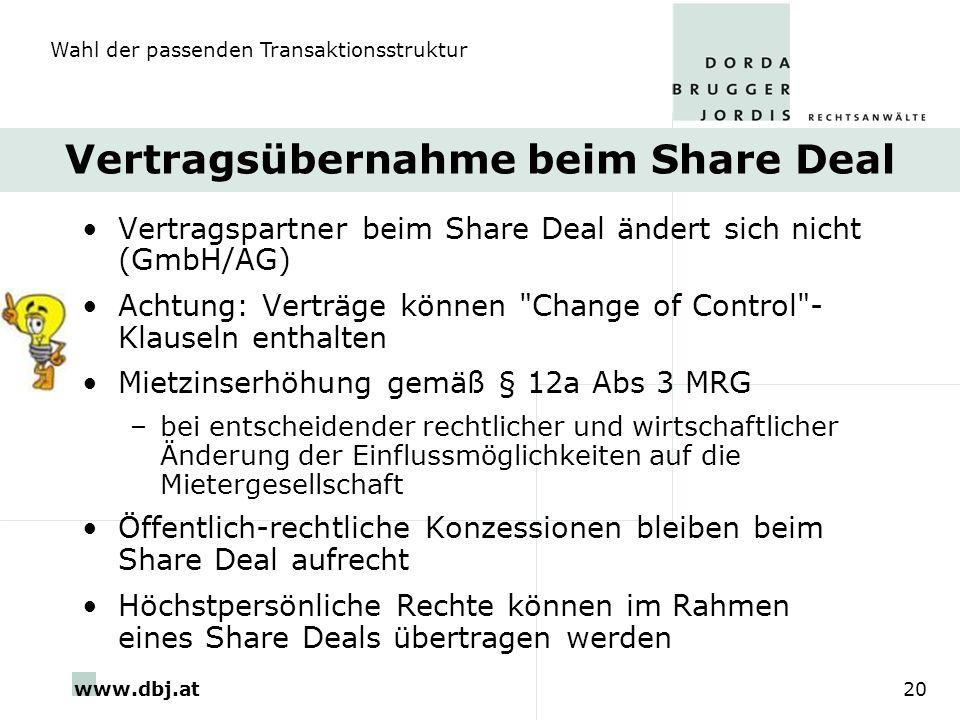 www.dbj.at20 Vertragsübernahme beim Share Deal Vertragspartner beim Share Deal ändert sich nicht (GmbH/AG) Achtung: Verträge können
