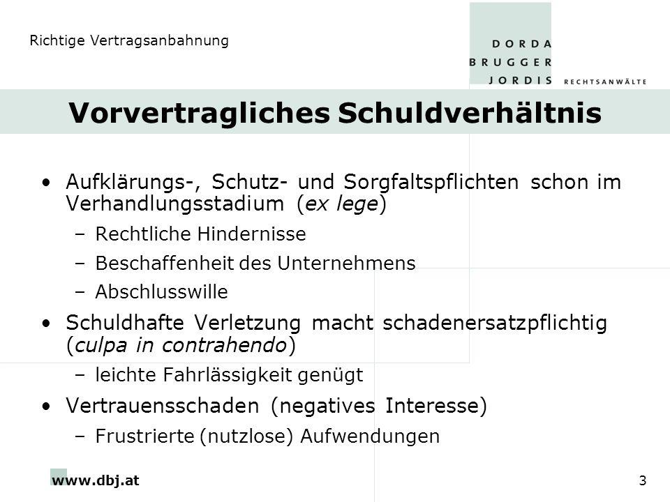 www.dbj.at3 Vorvertragliches Schuldverhältnis Aufklärungs-, Schutz- und Sorgfaltspflichten schon im Verhandlungsstadium (ex lege) –Rechtliche Hinderni
