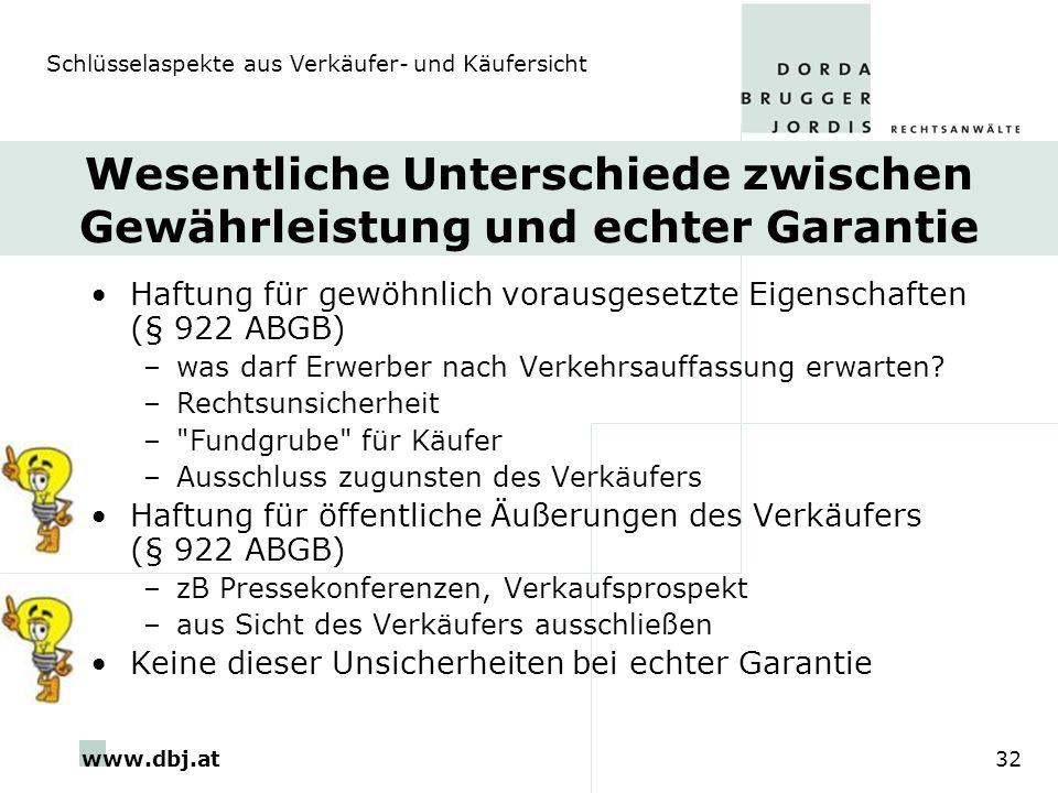 www.dbj.at32 Wesentliche Unterschiede zwischen Gewährleistung und echter Garantie Haftung für gewöhnlich vorausgesetzte Eigenschaften (§ 922 ABGB) –wa