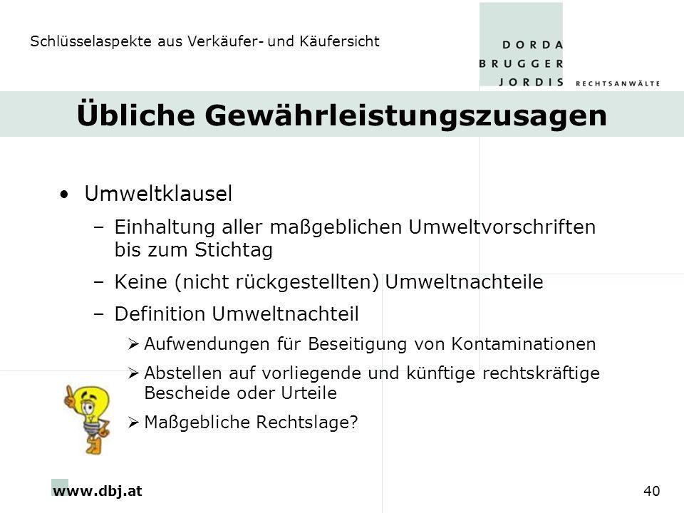 www.dbj.at40 Übliche Gewährleistungszusagen Umweltklausel –Einhaltung aller maßgeblichen Umweltvorschriften bis zum Stichtag –Keine (nicht rückgestell