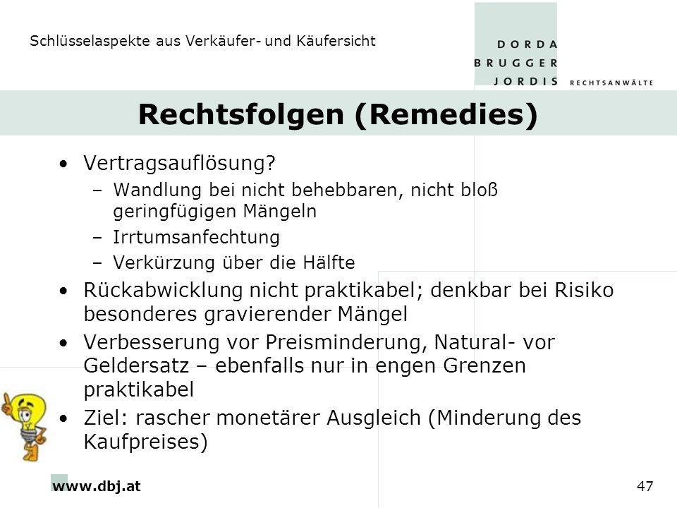 www.dbj.at47 Rechtsfolgen (Remedies) Vertragsauflösung? –Wandlung bei nicht behebbaren, nicht bloß geringfügigen Mängeln –Irrtumsanfechtung –Verkürzun