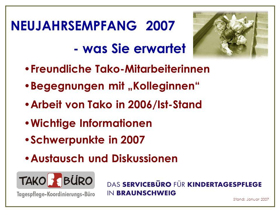 NEUJAHRSEMPFANG 2007 - was Sie erwartet Freundliche Tako-Mitarbeiterinnen Begegnungen mit Kolleginnen Arbeit von Tako in 2006/Ist-Stand Wichtige Informationen Schwerpunkte in 2007 Austausch und Diskussionen Stand: Januar 2007