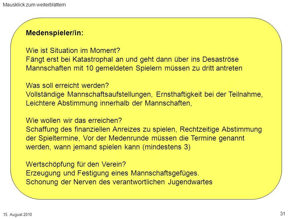 Mausklick zum weiterblättern 15. August 2010 31 Medenspieler/in: Wie ist Situation im Moment.