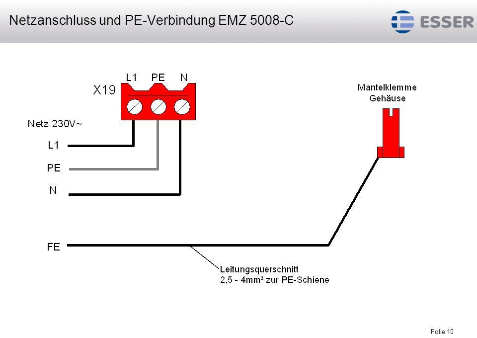 Folie 10 Netzanschluss und PE-Verbindung EMZ 5008-C