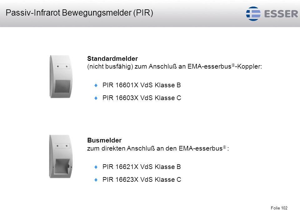 Folie 102 Standardmelder (nicht busfähig) zum Anschluß an EMA-esserbus -Koppler: PIR 16601X VdS Klasse B PIR 16603X VdS Klasse C Busmelder zum direkte