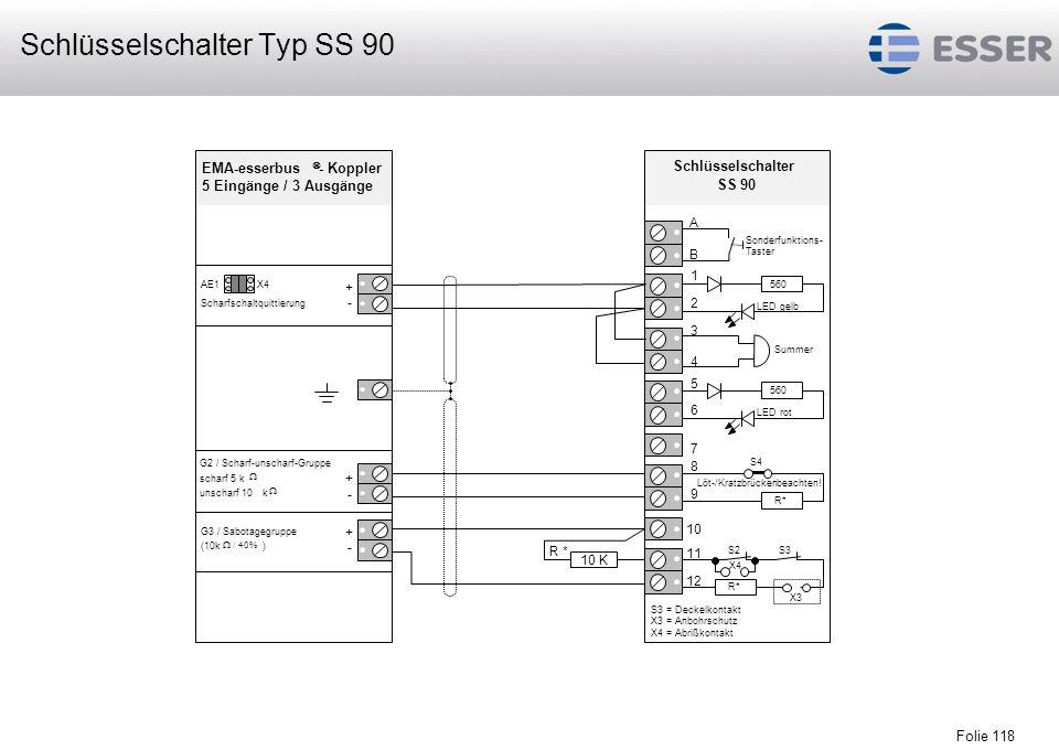 Folie 118 Löt-/Kratzbrückenbeachten! S2S3 Sonderfunktions- Taster S4 X3 X4 Schlüsselschalter SS 90 3 4 5 6 7 8 R * 10 K 9 10 11 12 B A 560 LED rot Sum