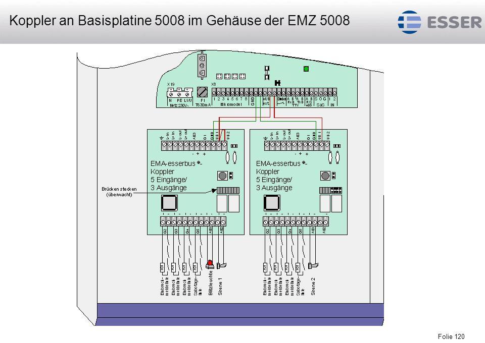 Folie 120 Koppler an Basisplatine 5008 im Gehäuse der EMZ 5008