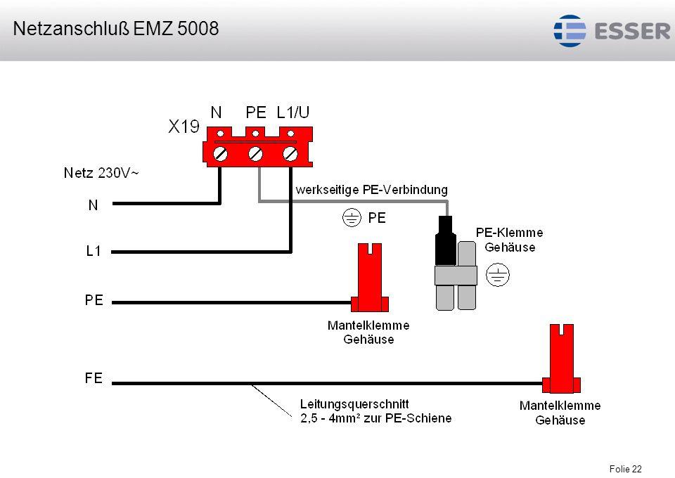 Folie 23 Anschluß der Erdungsleitungen EMZ 5008
