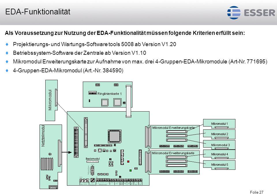 Folie 27 Als Voraussetzung zur Nutzung der EDA-Funktionalität müssen folgende Kriterien erfüllt sein: Projektierungs- und Wartungs-Software tools 5008