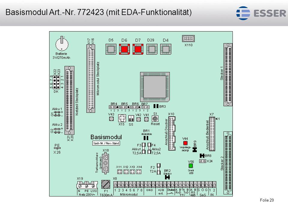 Folie 30 Mikromodul 2 Mikromodul 3 Mikromodul Erweiterungskarte Ringlinienkarte Mikromodulsteckplatz nur mit essernet ® -Mikromodulbestücken Mikromodul 1 Einbruchmeldecomputer 5008 mit EDA-Funktionalität