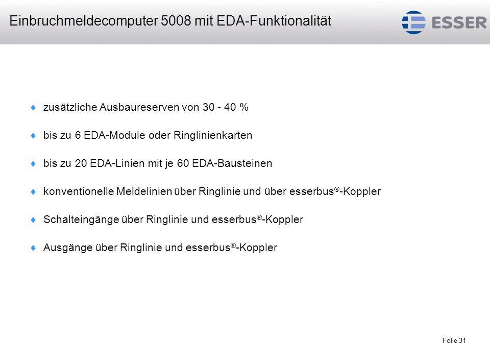 Folie 31 zusätzliche Ausbaureserven von 30 - 40 % bis zu 6 EDA-Module oder Ringlinienkarten bis zu 20 EDA-Linien mit je 60 EDA-Bausteinen konventionel