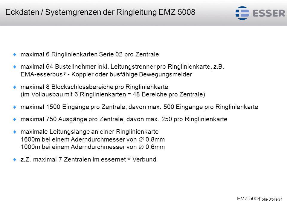 Folie 34 EMZ 5008 Folie 34 maximal 6 Ringlinienkarten Serie 02 pro Zentrale maximal 64 Busteilnehmer inkl. Leitungstrenner pro Ringlinienkarte, z.B. E