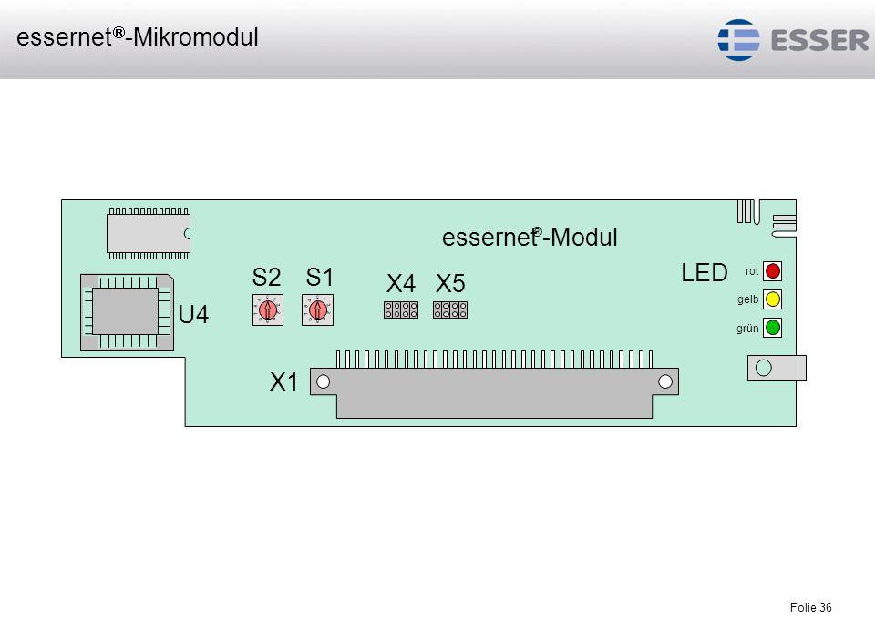 Folie 36 S2 LED essernet ® -Modul rot gelb grün 0 1 2 3 4 5 6 7 8 9 X1 S1 X4X5 U4 0 1 2 3 4 5 6 7 8 9 essernet -Mikromodul