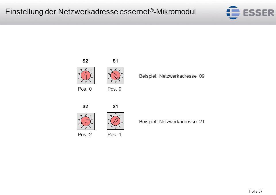 Folie 37 Beispiel: Netzwerkadresse 09 Beispiel: Netzwerkadresse 21 S2S1 S2S1 Pos. 0Pos. 9 Pos. 2Pos. 1 Einstellung der Netzwerkadresse essernet -Mikro