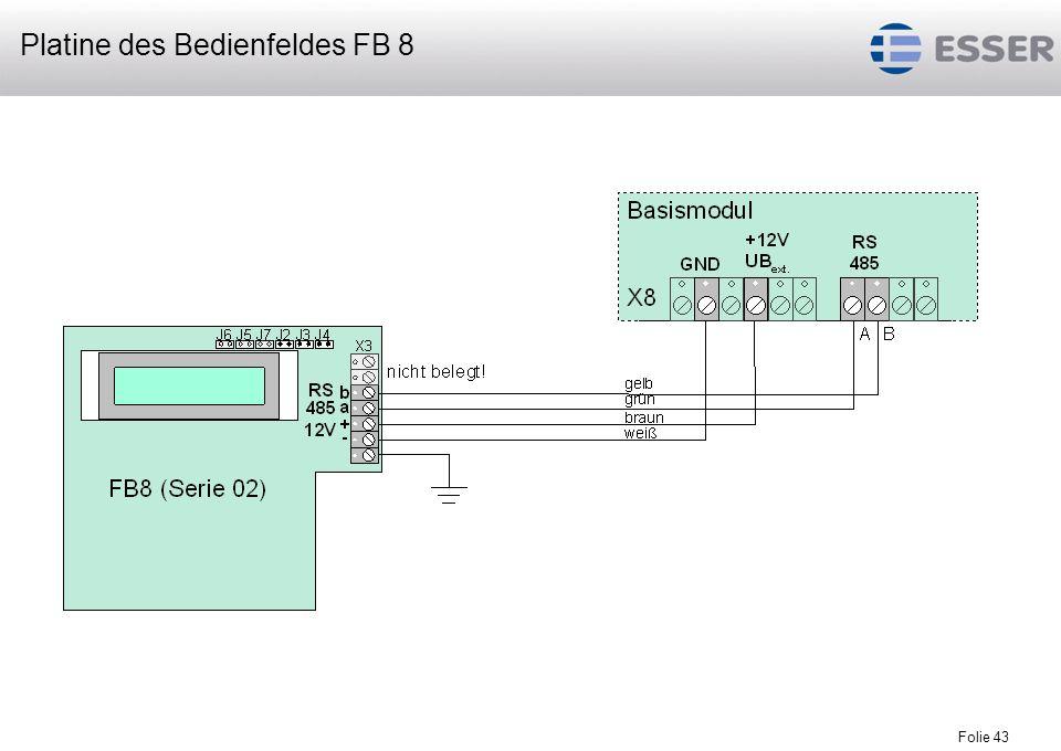 Folie 44 an die RS485-Schnittstelle des Basismodules können maximal 16 Fernbedienfelder FB 8 bzw.