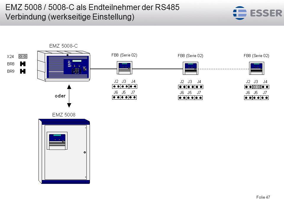 Folie 47 EMZ 5008 / 5008-C als Endteilnehmer der RS485 Verbindung (werkseitige Einstellung)