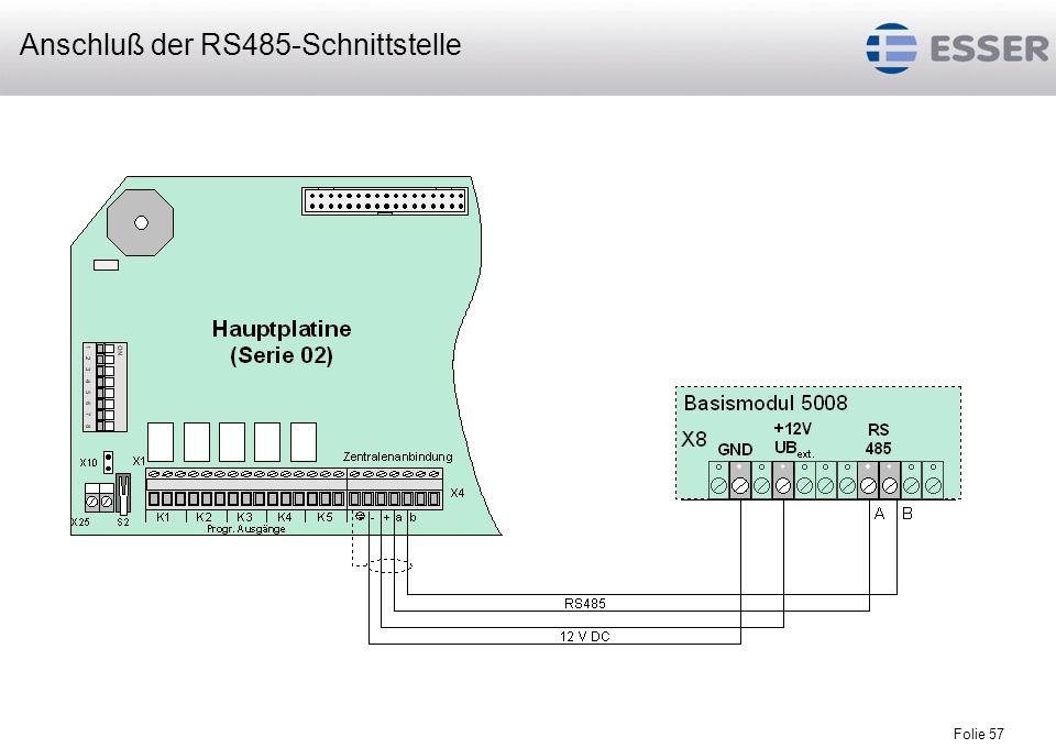 Folie 57 Anschluß der RS485-Schnittstelle