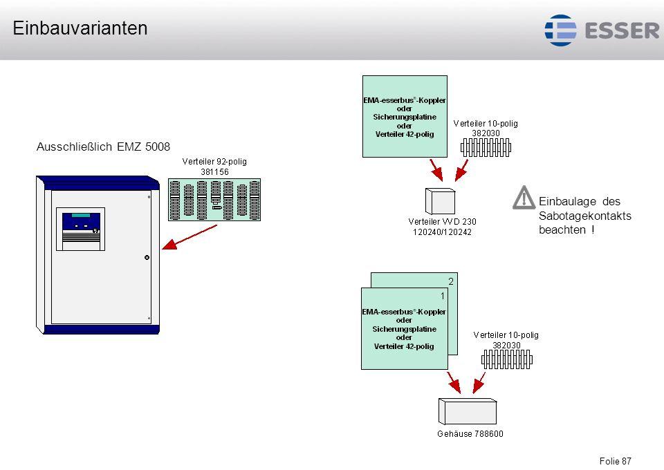 Folie 87 Ausschließlich EMZ 5008 Einbaulage des Sabotagekontakts beachten ! Einbauvarianten