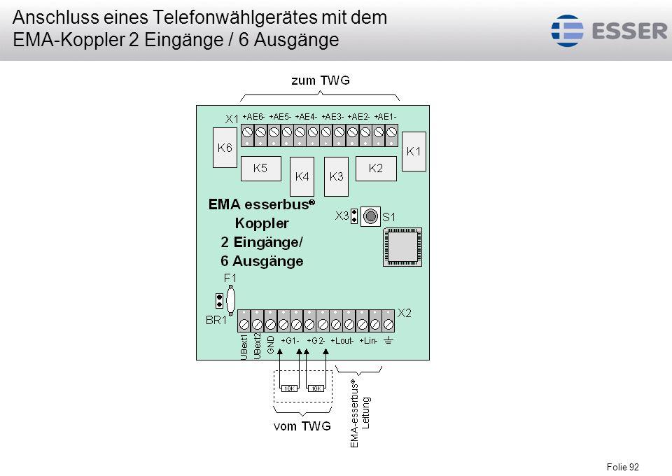 Folie 92 Anschluss eines Telefonwählgerätes mit dem EMA-Koppler 2 Eingänge / 6 Ausgänge