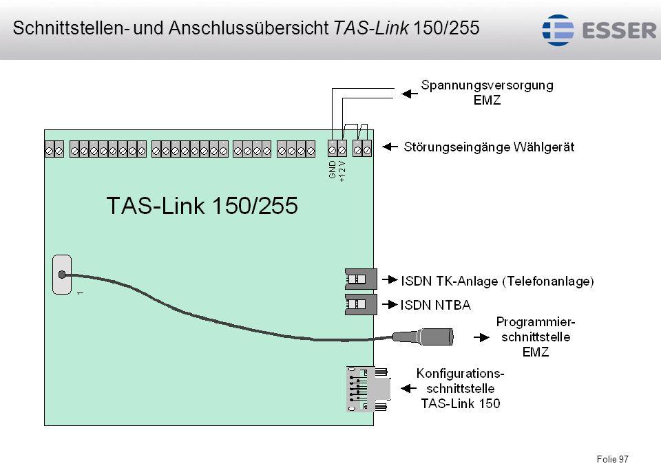Folie 97 Schnittstellen- und Anschlussübersicht TAS-Link 150/255