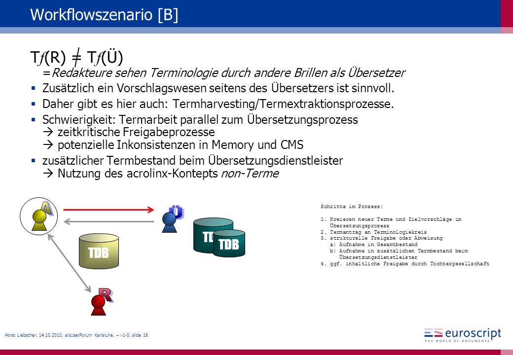 Horst Liebscher, 14.10.2010, alxUserForum Karlsruhe. – v1-0, slide 18 Workflowszenario [B] T f (R) = T f (Ü) =Redakteure sehen Terminologie durch ande