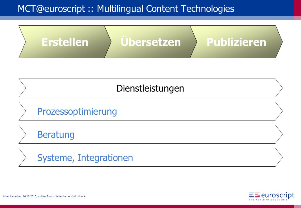 Horst Liebscher, 14.10.2010, alxUserForum Karlsruhe. – v1-0, slide 4 MCT@euroscript :: Multilingual Content Technologies Systeme, Integrationen Beratu