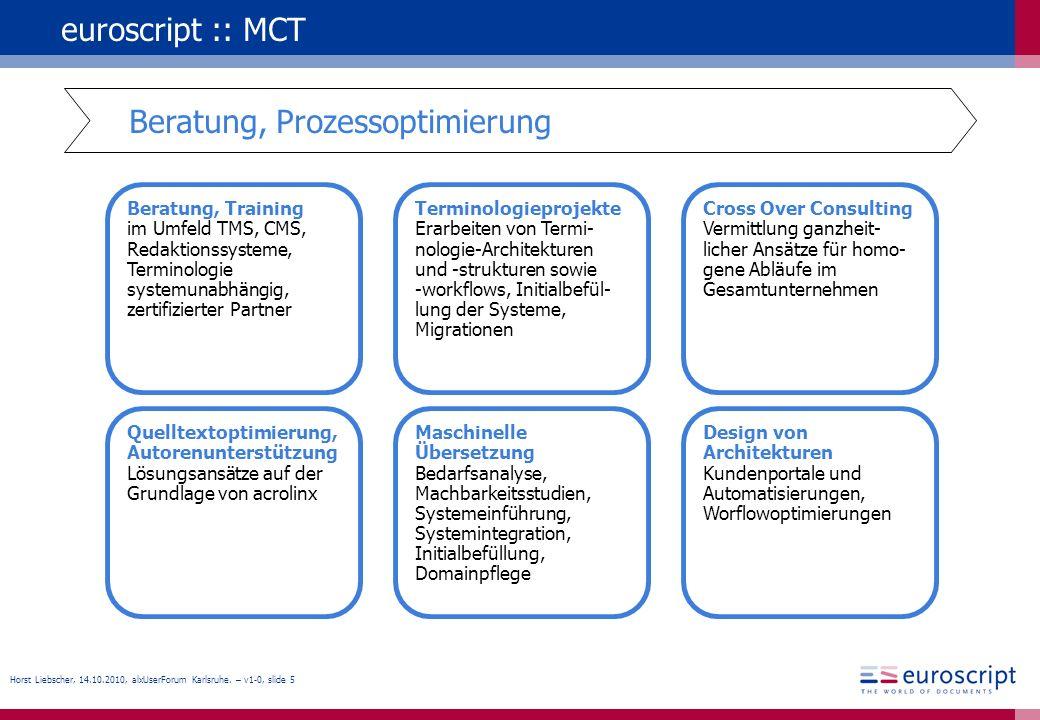 Horst Liebscher, 14.10.2010, alxUserForum Karlsruhe. – v1-0, slide 5 euroscript :: MCT Beratung, Training im Umfeld TMS, CMS, Redaktionssysteme, Termi