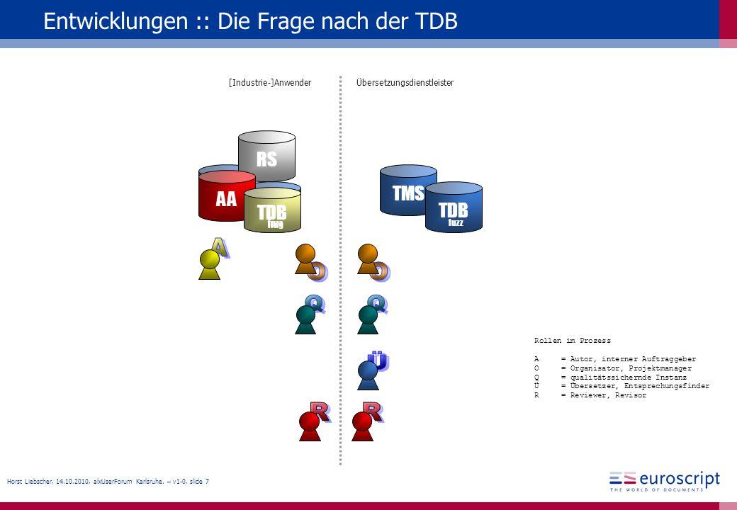 Horst Liebscher, 14.10.2010, alxUserForum Karlsruhe. – v1-0, slide 7 Entwicklungen :: Die Frage nach der TDB TMS TDB TMS TDB Übersetzungsdienstleister