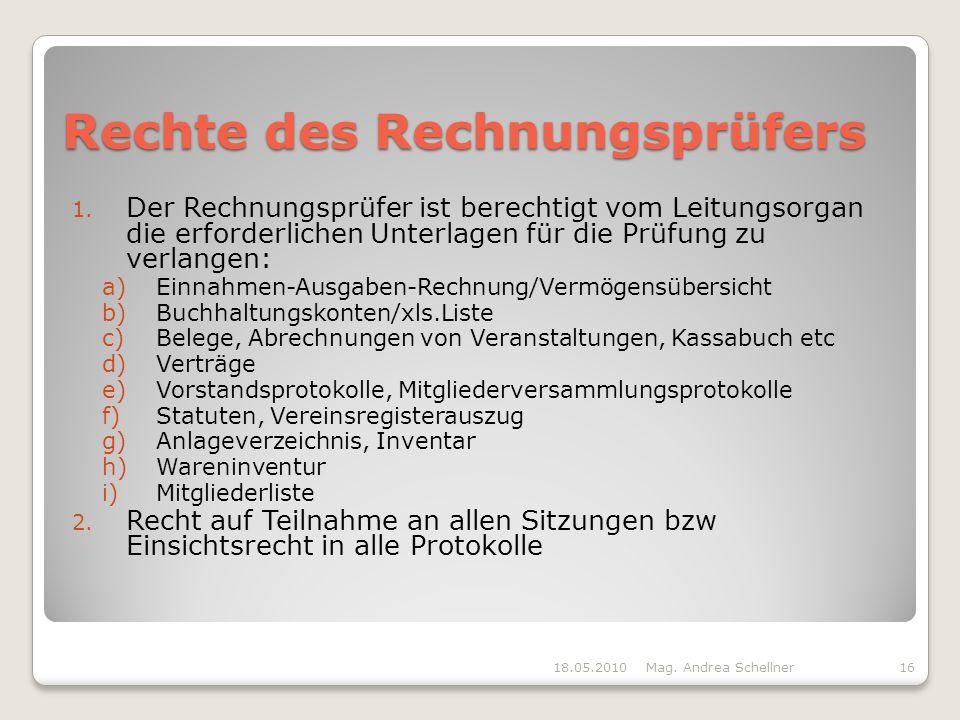 Rechte des Rechnungsprüfers 1.