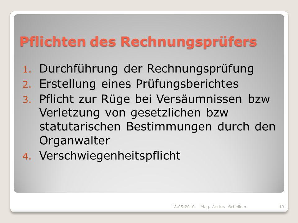 Pflichten des Rechnungsprüfers 1.Durchführung der Rechnungsprüfung 2.