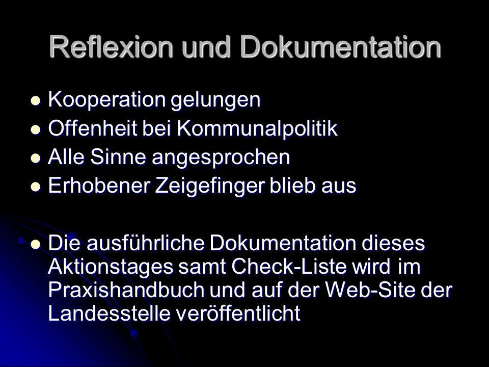 Reflexion und Dokumentation Kooperation gelungen Kooperation gelungen Offenheit bei Kommunalpolitik Offenheit bei Kommunalpolitik Alle Sinne angesproc