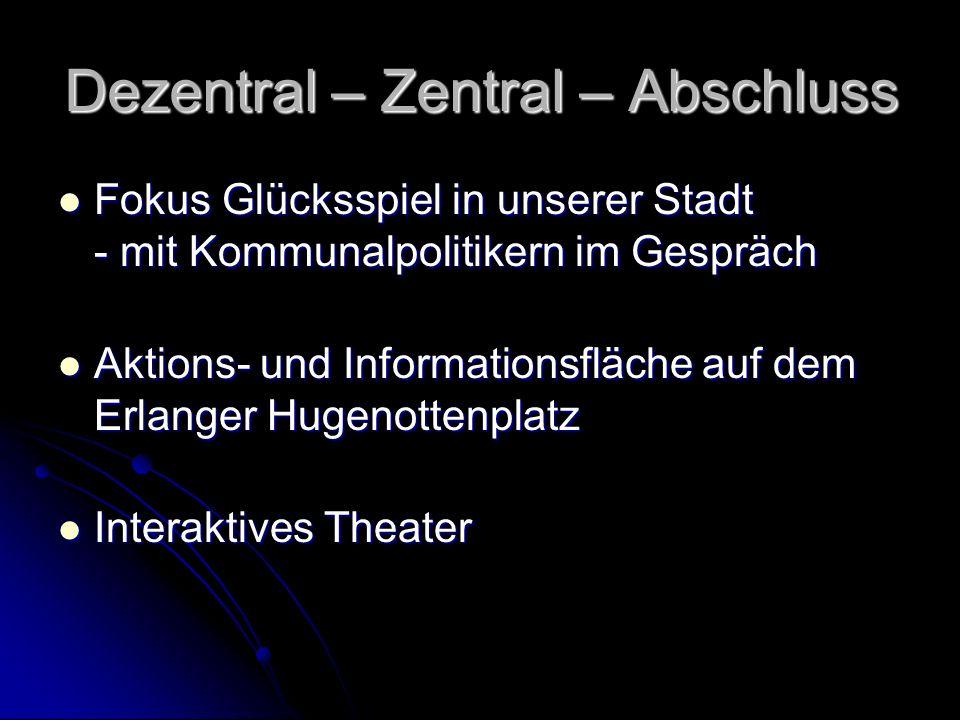 Dezentral – Zentral – Abschluss Fokus Glücksspiel in unserer Stadt - mit Kommunalpolitikern im Gespräch Fokus Glücksspiel in unserer Stadt - mit Kommu