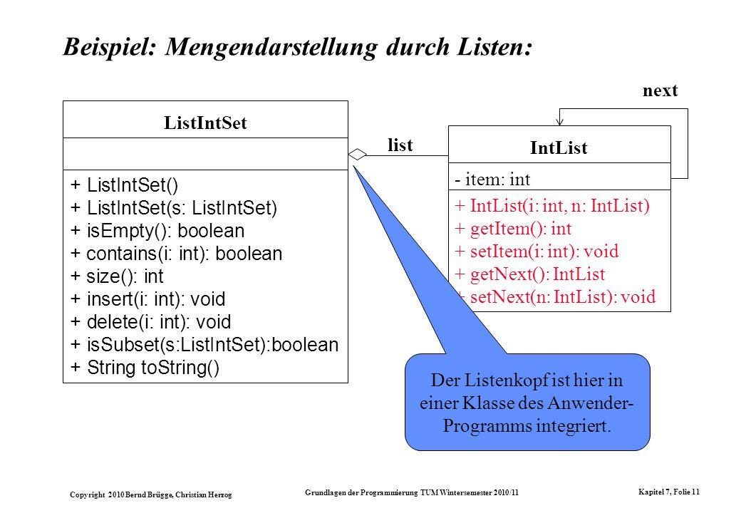 Copyright 2010 Bernd Brügge, Christian Herzog Grundlagen der Programmierung TUM Wintersemester 2010/11 Kapitel 7, Folie 11 Beispiel: Mengendarstellung