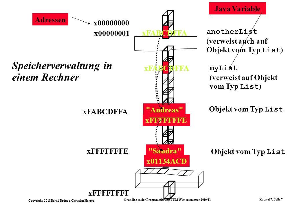 Copyright 2010 Bernd Brügge, Christian Herzog Grundlagen der Programmierung TUM Wintersemester 2010/11 Kapitel 7, Folie 7 Speicherverwaltung in einem