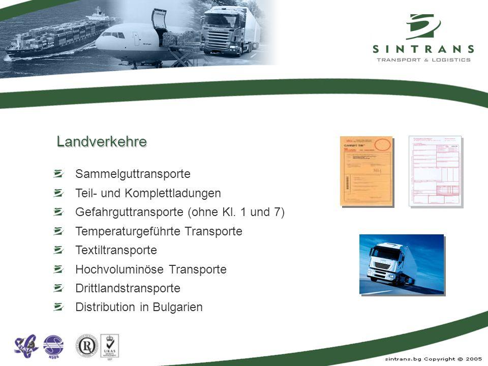 Sammelguttransporte Teil- und Komplettladungen Gefahrguttransporte (ohne Kl. 1 und 7) Temperaturgeführte Transporte Textiltransporte Hochvoluminöse Tr