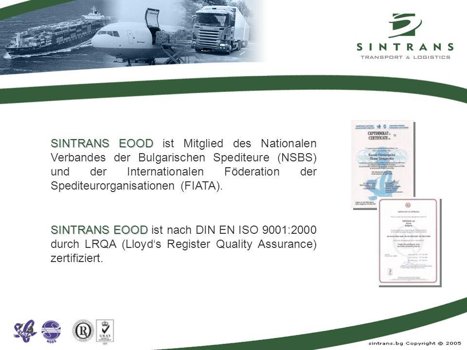 SINTRANS EOOD SINTRANS EOOD ist Mitglied des Nationalen Verbandes der Bulgarischen Spediteure (NSBS) und der Internationalen Föderation der Spediteuro