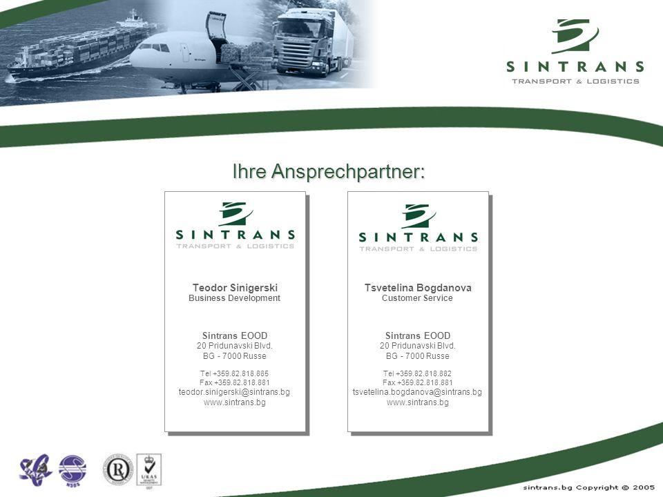 Für weitere Informationen besuchen Sie uns im Internet: www.sintrans.bg Ihre Anfragen oder Aufträge können Sie gerne schicken an: dispo@sintrans.bg