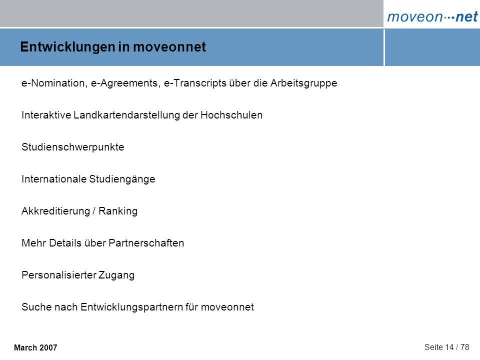 Seite 14 / 78 March 2007 Entwicklungen in moveonnet e-Nomination, e-Agreements, e-Transcripts über die Arbeitsgruppe Interaktive Landkartendarstellung