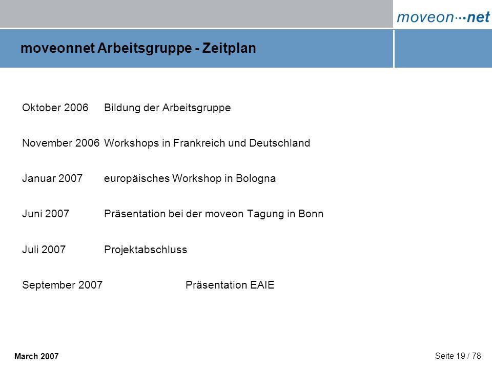 Seite 19 / 78 March 2007 moveonnet Arbeitsgruppe - Zeitplan Oktober 2006Bildung der Arbeitsgruppe November 2006Workshops in Frankreich und Deutschland