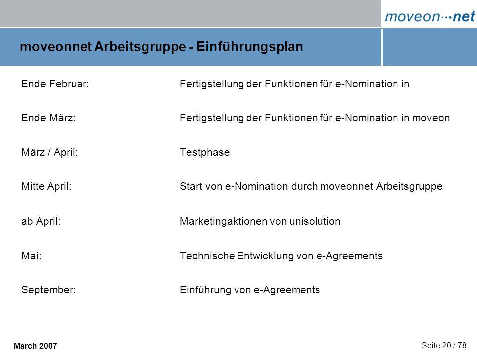 Seite 20 / 78 March 2007 moveonnet Arbeitsgruppe - Einführungsplan Ende Februar: Fertigstellung der Funktionen für e-Nomination in Ende März: Fertigst