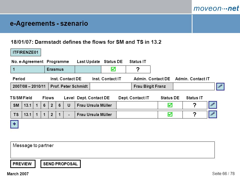 Seite 66 / 78 March 2007 e-Agreements - szenario ITFIRENZE01 1 FieldFlowsDept. Contact DEDept. Contact ITTS/SMStatus DE 18/01/07: Darmstadt defines th