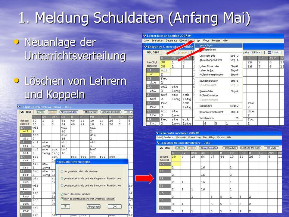 1. Meldung Schuldaten (Anfang Mai) Neuanlage der Unterrichtsverteilung Neuanlage der Unterrichtsverteilung Löschen von Lehrern und Koppeln Löschen von