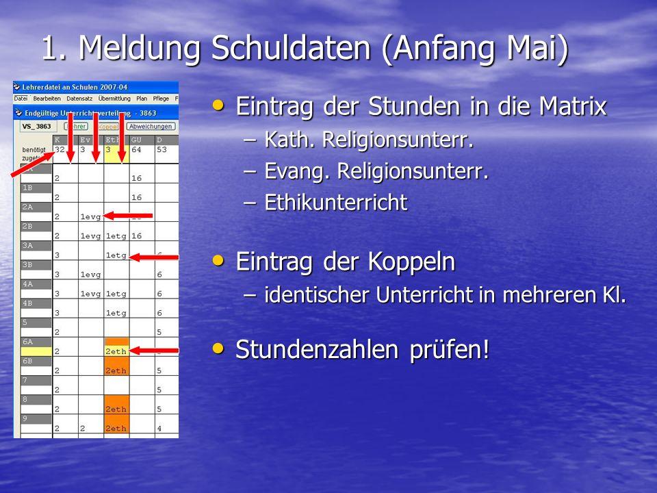 1. Meldung Schuldaten (Anfang Mai) Eintrag der Stunden in die Matrix Eintrag der Stunden in die Matrix –Kath. Religionsunterr. –Evang. Religionsunterr