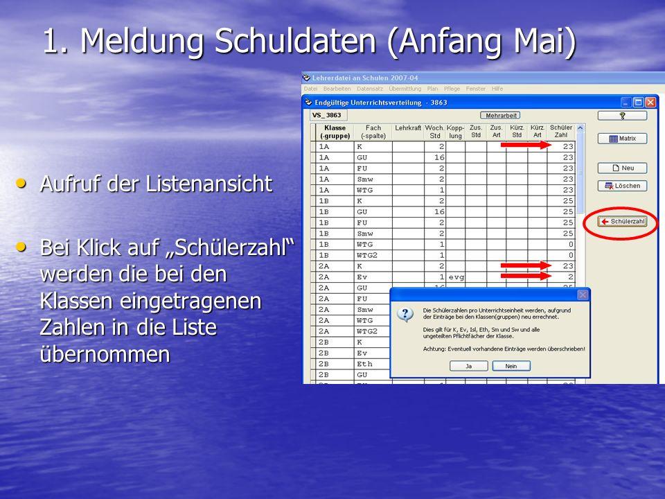 1.Meldung Schuldaten (Anfang Mai) Abweichungen (Kürzung) vom Regelstundenmaß bei Rel.Unterr.