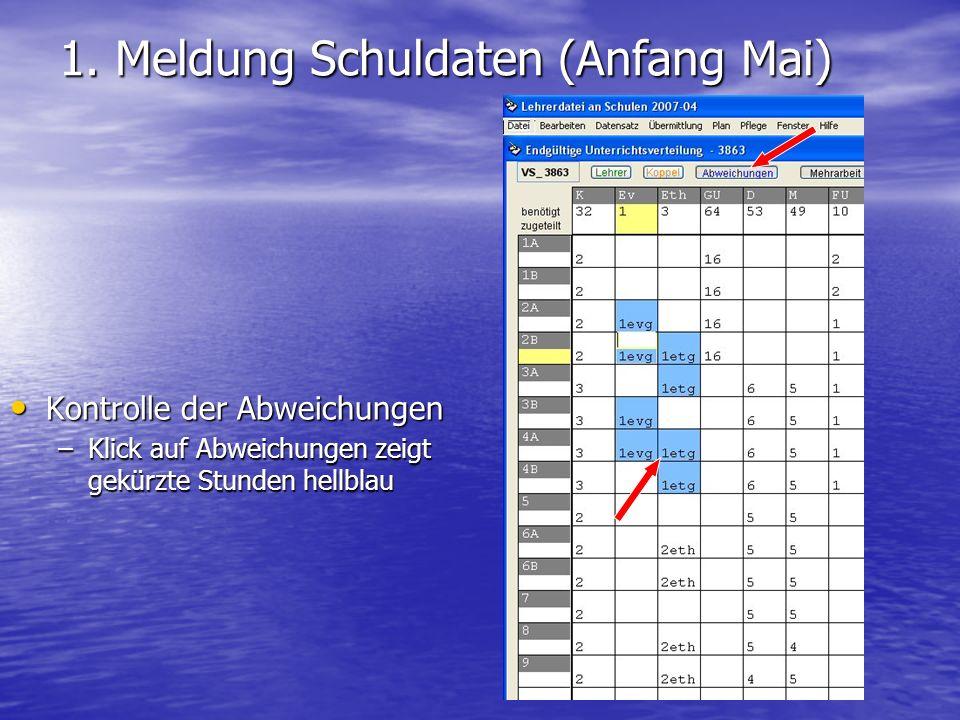 1. Meldung Schuldaten (Anfang Mai) Kontrolle der Abweichungen Kontrolle der Abweichungen –Klick auf Abweichungen zeigt gekürzte Stunden hellblau